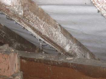 Chemical stain on roof timbers